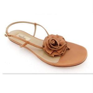 VALENTINO Tan Brown Leather Floral Sling Sandal 36